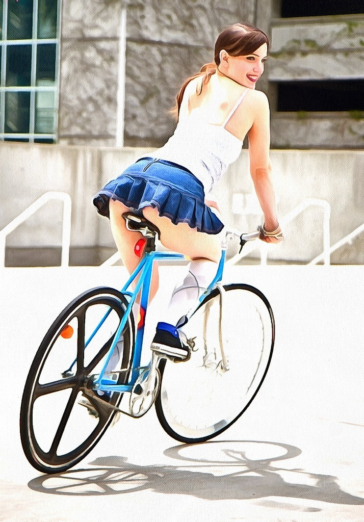 Women mini skirt panties bicycle cute