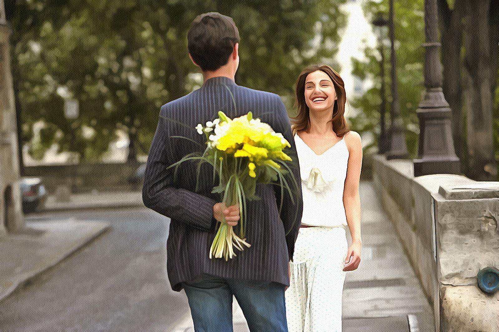 Парень дарит цветы девушке картинки, днем крещения